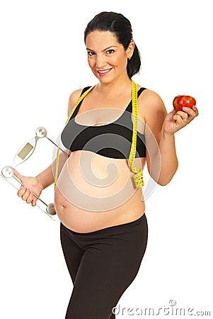 Happy healthy pregnant woman