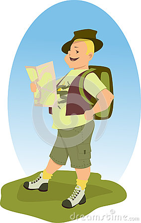 Happy hiker with a map