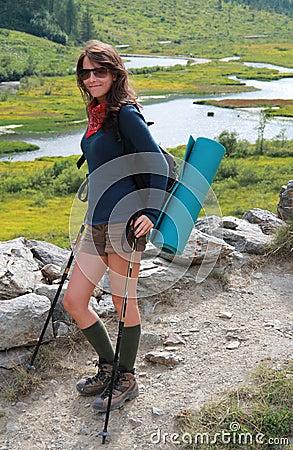 Happy hiking girl