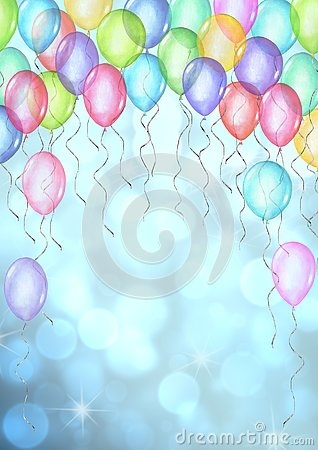 Free Happy Holiday Background. Watercolor Hand Drawn Template For Greeting Cards With Balloons On Bokeh Background Stock Photos - 144930713