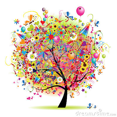 Free Happy Holiday, Funny Tree With Baloons Royalty Free Stock Images - 13223959