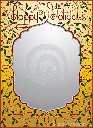 Happy holidays background in gold and silver