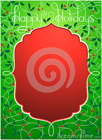 Happy holidays background in green and red