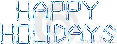 Happy holidays blue paper clips