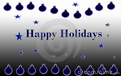 Happy Holidays Blue Poster
