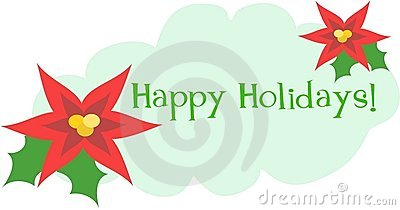 Happy Holidays Greeting with Flowers