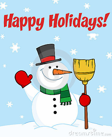 Happy holidays greeting with a snowman