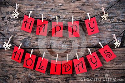 Happy Holidays Greetings on a Line Stock Photo