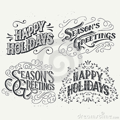 Free Happy Holidays Hand Drawn Typographic Headlines Royalty Free Stock Photography - 59733427