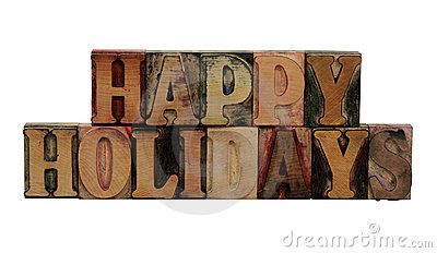 Happy Holidays  in letterpress wood letters