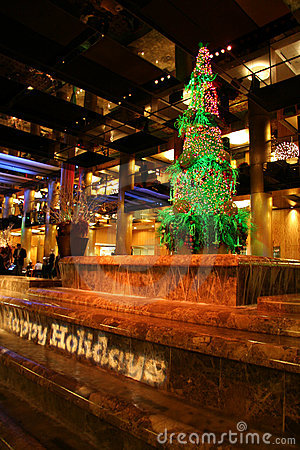 Happy Holidays Sign and Tree