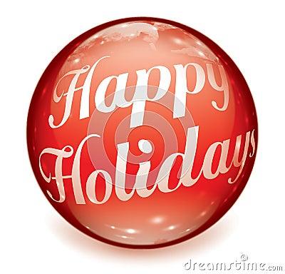 Happy Holidays Text Ball