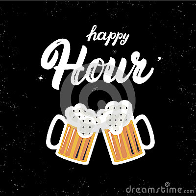 Free Happy Hour Hand Written Lettering Quote With Glasses Of Beer. Isolated On Black Background. Brush And Grunge Texture Royalty Free Stock Photos - 73783878