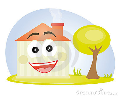 Happy house cartoon