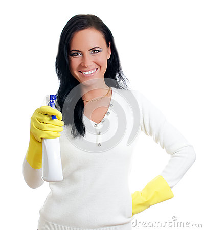 Happy housewife with window cleaner.
