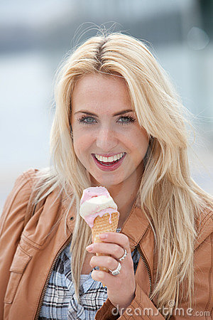 Happy icecream girl