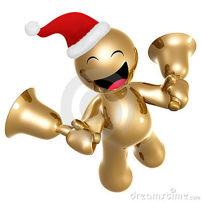 Happy icon figure with santa hat and bells