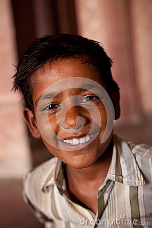 Happy Indian boy near Agra Editorial Photo