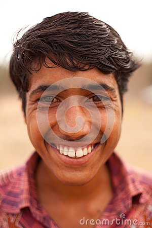 Happy Indian boy near Karauli in India Editorial Image