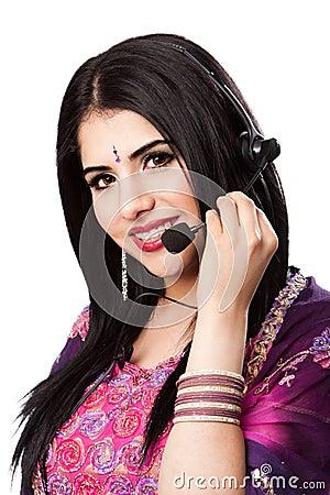 Happy Indian Customer Service Representative