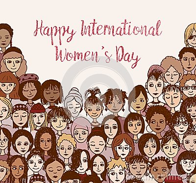 Happy International Women`s Day - hand drawn doodle faces Vector Illustration