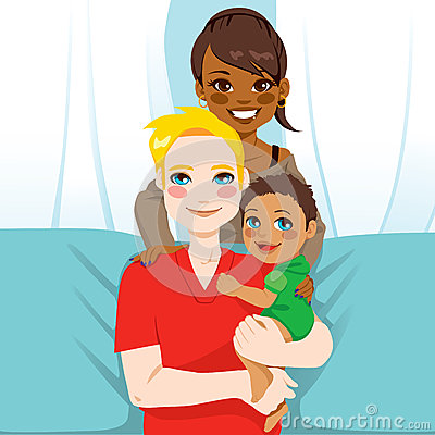 Happy Interracial Family