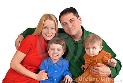 Happy Isolated family on White Background