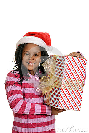 Free Happy Jamaican Child With Christmas Present Stock Photography - 35650192