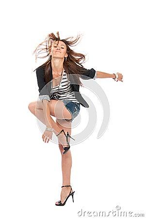 Happy jazz brunette woman dancing