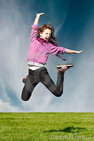 Happy joy girl jump