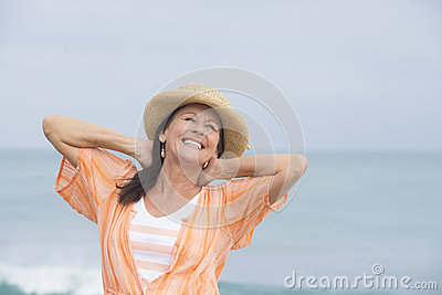 Happy joyful attractive mature woman