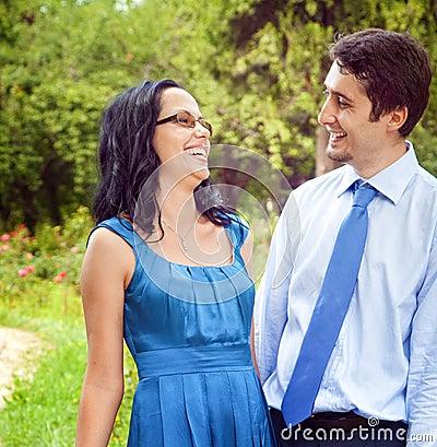 Happy joyful couple laughing outdoor