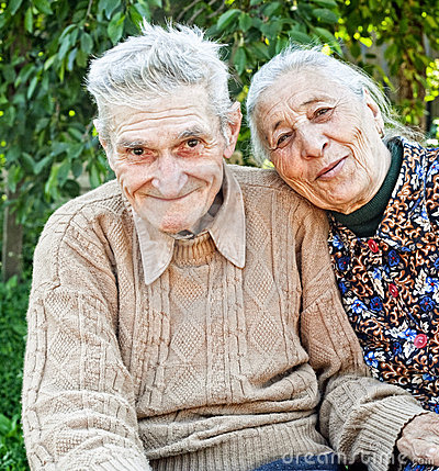 Happy and joyful old senior couple