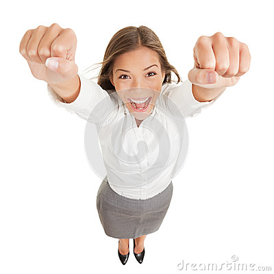 Happy jubilant you woman cheering