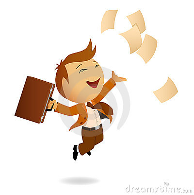 Happy jumping businessman with case