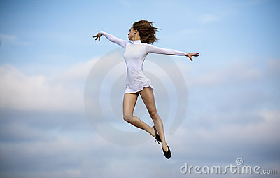 Happy jumping dancer