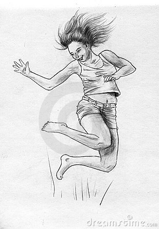 Happy jumping girl