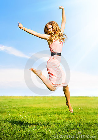 Free Happy Jumping Girl Royalty Free Stock Photos - 6384228