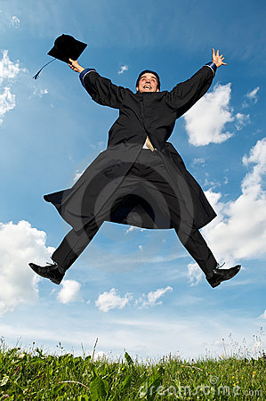 Free Happy Jumping Graduate Outdoors Royalty Free Stock Photos - 14935098