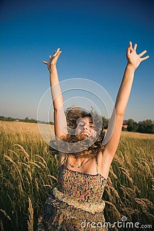 Happy jumping woman