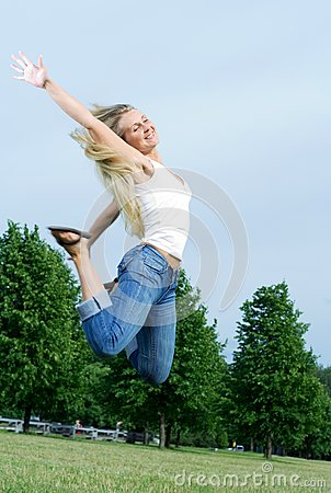 Happy jumping woman.