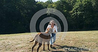 Happy junge Frau, die fröhlich mit Hund auf dem Rasen spielt und läuft Liebe und Freundschaft mit Haustieren stock video