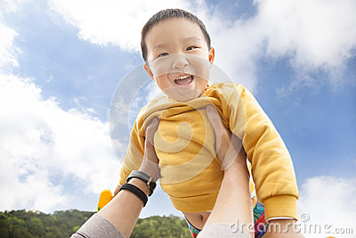 Happy  kid with cloud background