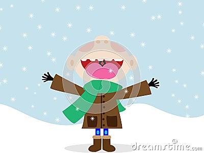 Happy kid eating snowflakes
