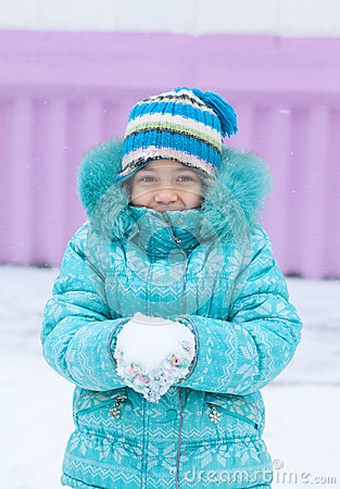 Free Happy Kid Girl Child Outdoors In Winter Playing With Snow Stock Photo - 46310190