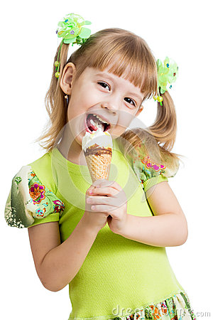 Free Happy Kid Girl Eating Ice Cream Isolated Royalty Free Stock Images - 29381529