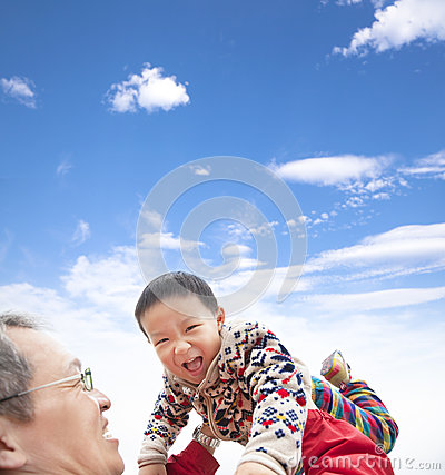 Happy  kid play with father