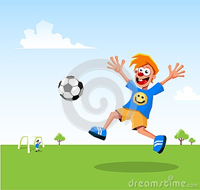 Happy kid playing soccer