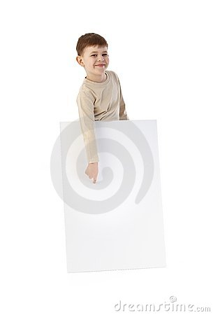 Happy kid pointing to blank sheet