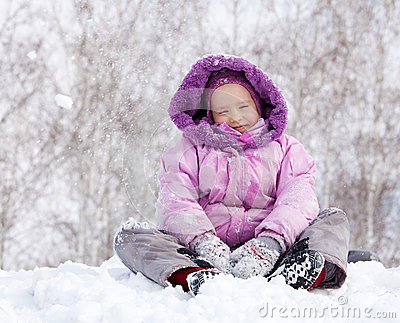 Happy kid in winter park